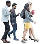 Friends walking four young adult business casual people png | MrCutout.com