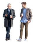 People png walking two businessmen walking with coffee | MrCutout.com
