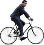 Cut out people - Businessman Cycling 0002 | MrCutout.com