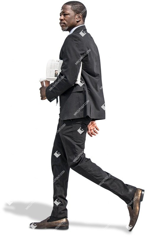 Businessman walking with newspaper and coffee human png