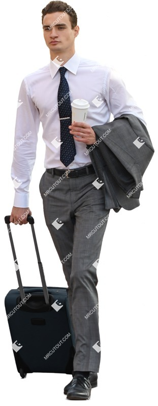 Cut out people - Businessman With A Baggage Drinking Coffee 0003 preview