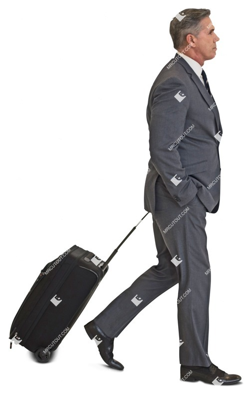 Cut out people - Businessman With A Baggage Walking 0001 preview