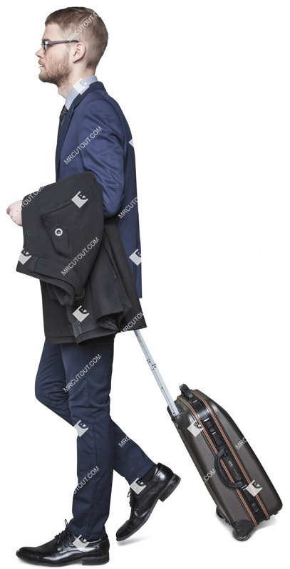 Cut out people - Businessman With A Baggage Walking 0006 preview