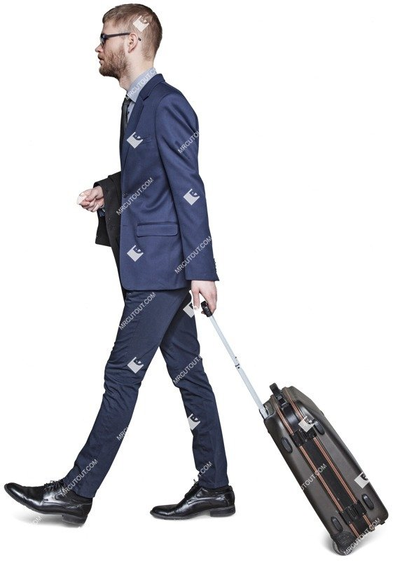 Cut out people - Businessman With A Baggage Walking 0007