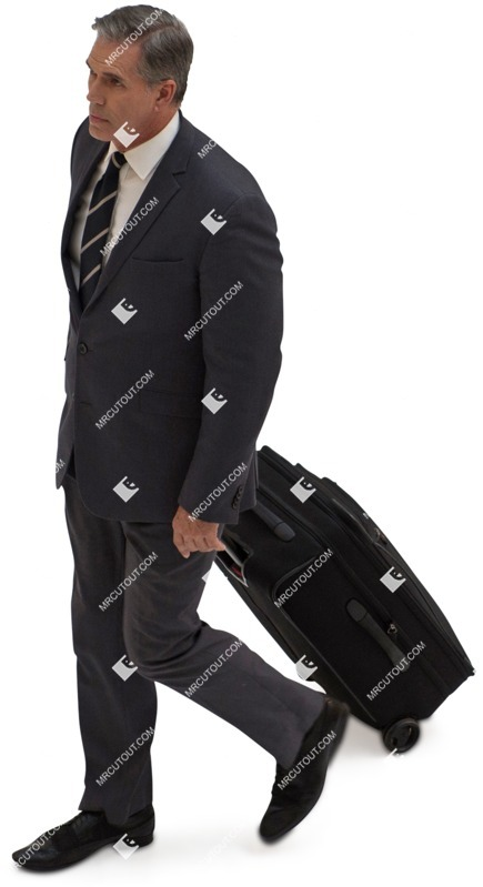 Cut out people - Businessman With A Baggage Walking 0008 preview