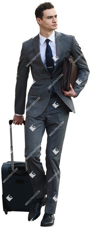 Cut out people - Businessman With A Baggage Walking 0012 preview