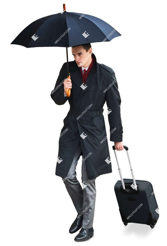 Cut out people - Businessman With A Baggage Walking 0013 preview