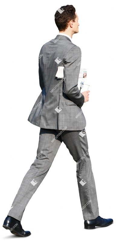 Cut out people - Businessman With A Newspaper Drinking Coffee 0001