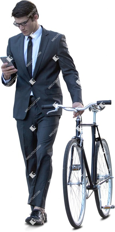 Cut out people - Businessman With A Smartphone Cycling 0001 preview