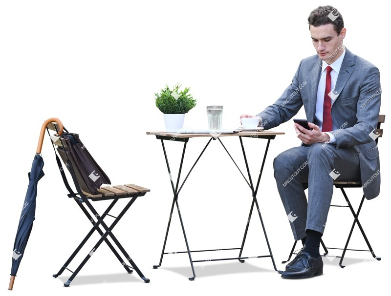 Cut out people - Businessman With A Smartphone Drinking Coffee 0003 preview