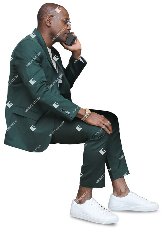Human png African businessman sitting talking on a phone