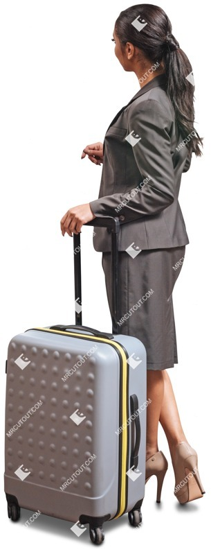 Cut out people - Businesswoman With A Baggage Standing 0001 preview