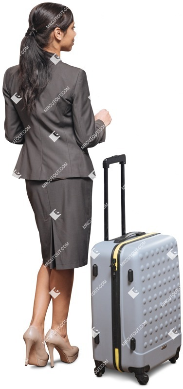 Cut out people - Businesswoman With A Baggage Standing 0003 preview