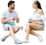 Cut out people - Couple Drinking Coffee 0005 | MrCutout.com