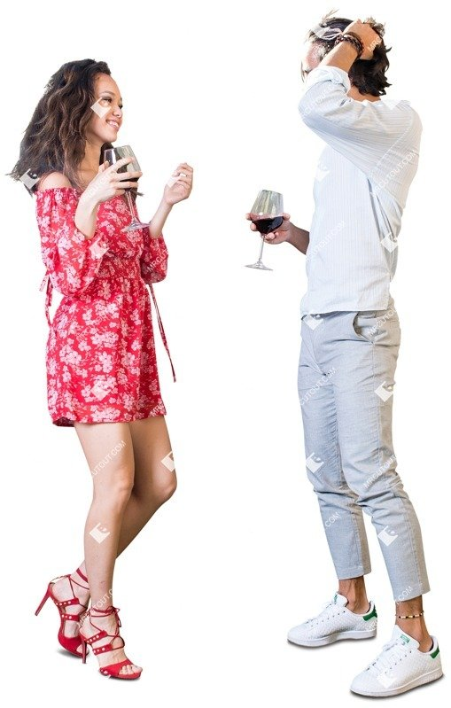 Cut out people - Couple Drinking Wine 0002