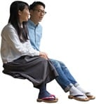 Cut out people - Couple Sitting 0045 | MrCutout.com