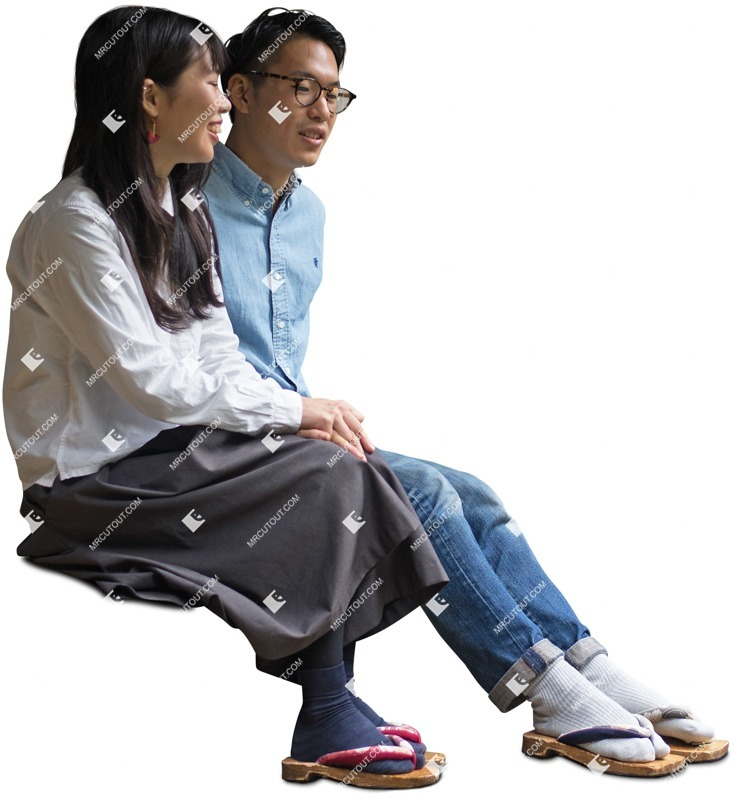 Cut out people - Couple Sitting 0045