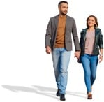 Cut out people - Couple Walking 0064 | MrCutout.com