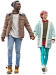 Cut out people - Couple Walking 0089 | MrCutout.com