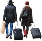 Cut out people - Couple With A Baggage Walking 0001 | MrCutout.com