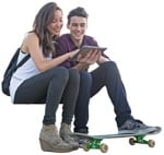 Cut out people - Couple With A Skateboard Sitting 0001 | MrCutout.com