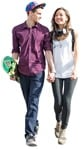 Cut out people - Couple With A Skateboard Walking 0002 | MrCutout.com