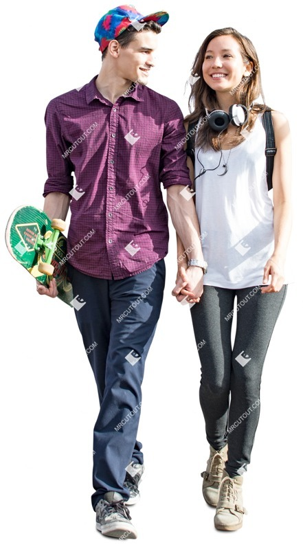 Cut out people - Couple With A Skateboard Walking 0002 preview
