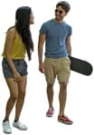 Cut out people - Couple With A Skateboard Walking 0003 | MrCutout.com