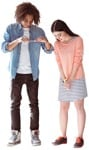 Cut out people - Couple With A Smartphone Standing 0003 | MrCutout.com