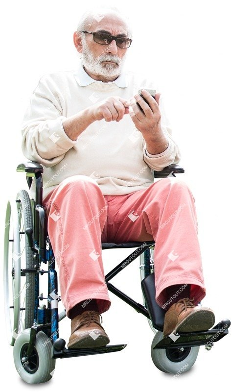 Cut out people - Disabled Elderly Person With A Smartphone 0002 preview