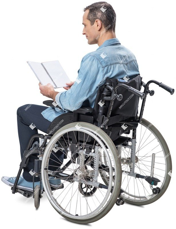Cut out people - Disabled Man Reading A Book 0001 preview