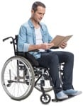 Cut out people - Disabled Man Reading A Book 0002 | MrCutout.com