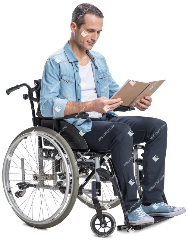 Cut out people - Disabled Man Reading A Book 0002