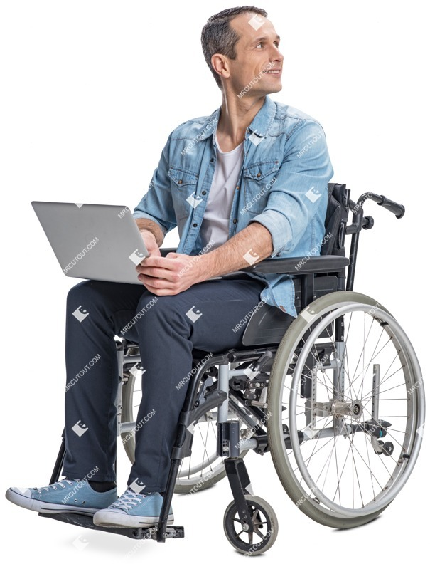 Cut out people - Disabled Man With A Computer 0001 preview