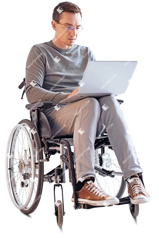 Cut out people - Disabled Man With A Computer 0003