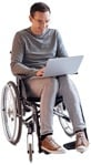 Cut out people - Disabled Man With A Computer Writing 0001 | MrCutout.com