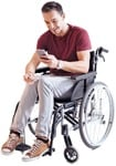Cut out people - Disabled Man With A Smartphone 0001 | MrCutout.com