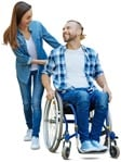 Cut out people - Disabled Person With Caregiver 0006 | MrCutout.com