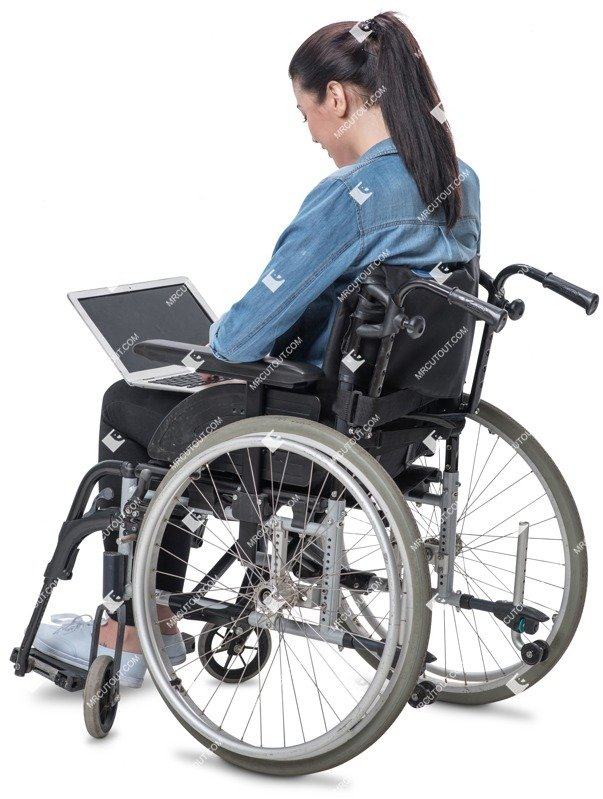 Cut out people - Disabled Woman With A Computer Writing 0001 preview