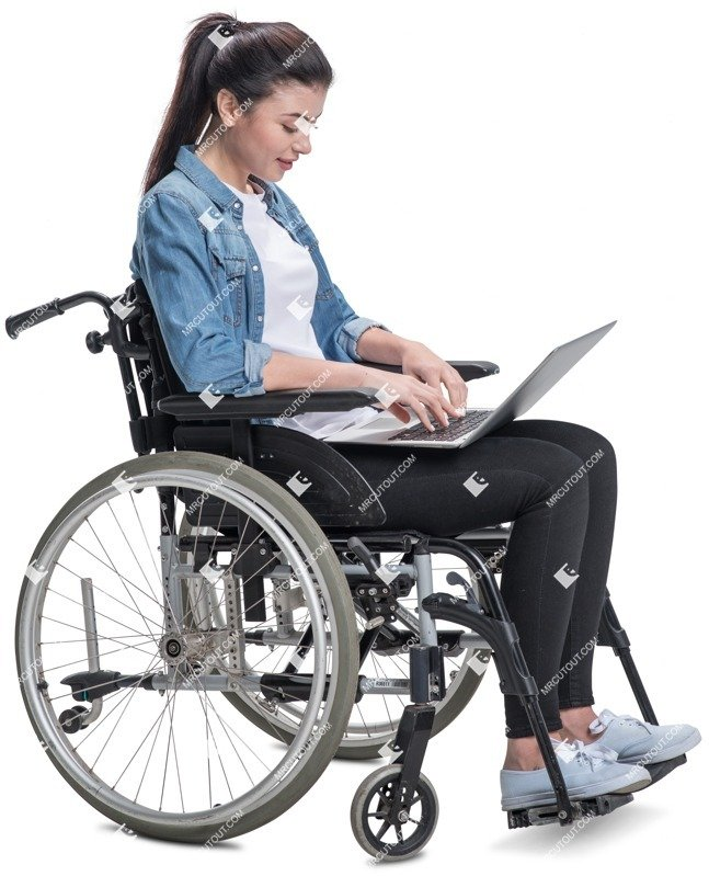 Cut out people - Disabled Woman With A Computer Writing 0002