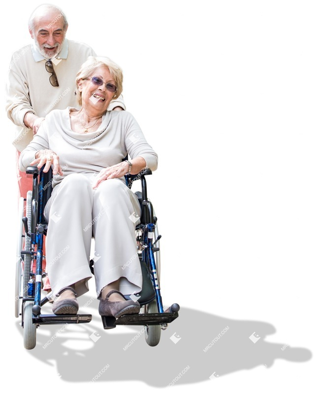 Cut out people - Elderly Couple Disabled Walking 0001 preview