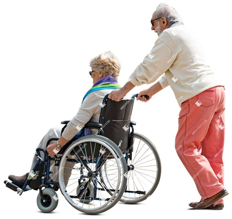 Cut out people - Elderly Couple Disabled Walking 0005 preview