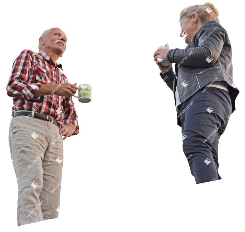 Cut out people - Elderly Couple Drinking Coffee 0001 preview