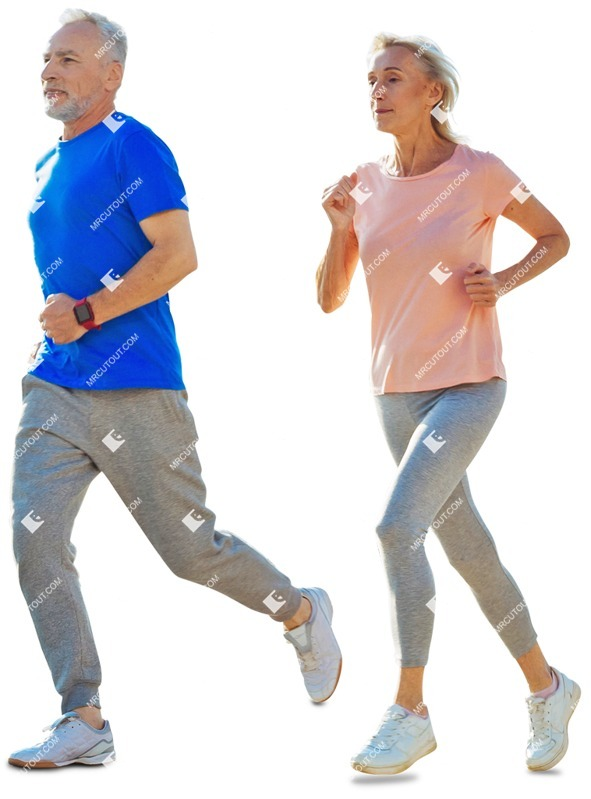 Cut out people - Elderly Couple Jogging 0001 preview