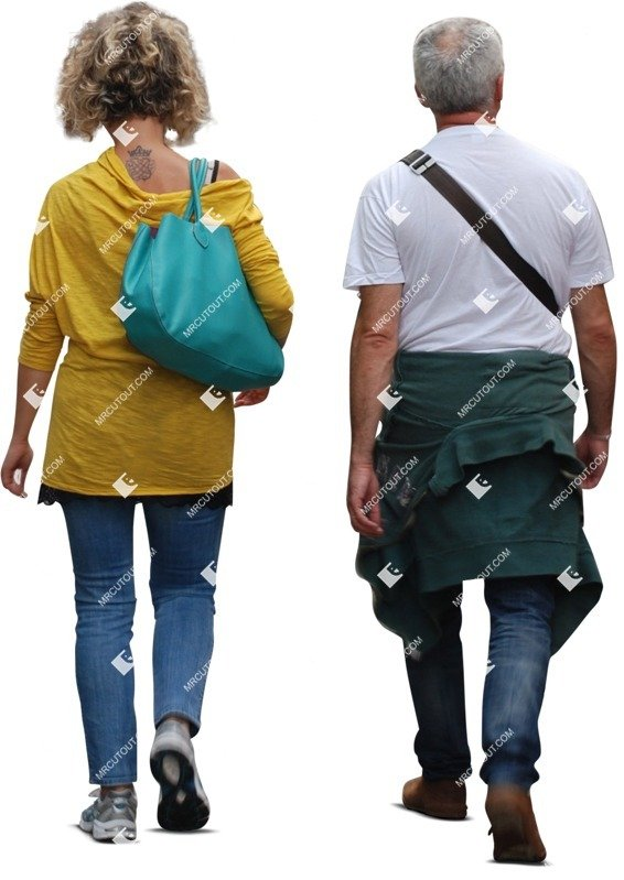 Cut out people - Elderly Couple Walking 0011