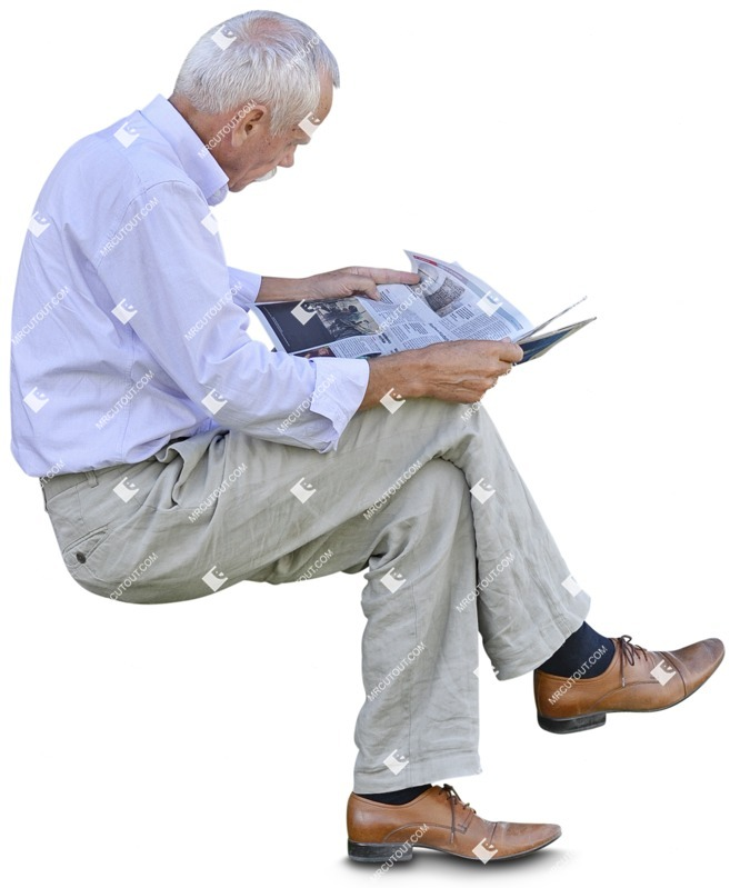 Cut out people - Elderly Reading A Newspaper Sitting 0003 preview