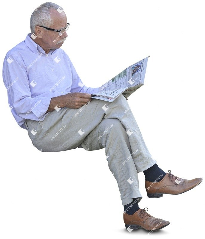 Cut out people - Elderly Reading A Newspaper Sitting 0005