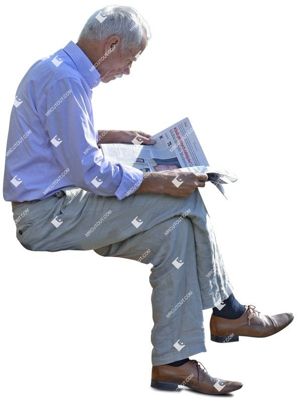 Cut out people - Elderly Reading A Newspaper Sitting 0006 preview