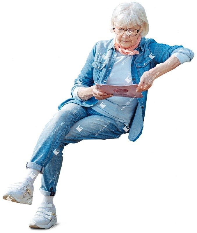 Cut out people - Elderly Reading A Newspaper Sitting 0009 preview