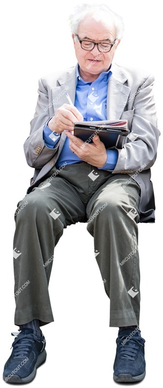 Cut out people - Elderly Reading A Newspaper Writing 0001 preview
